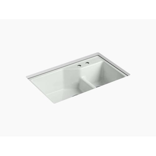 """Sea Salt 33"""" X 21-1/8"""" X 9-3/4"""" Smart Divide Undermount Large/small Double-bowl Workstation Kitchen Sink With 2 Faucet Holes"""
