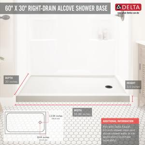 White ProCrylic 60 in. x 30 in. Shower Base Right Drain Product Image