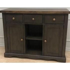 Solid Wood Server with Medium Grey Finish & Rustic Brown Top