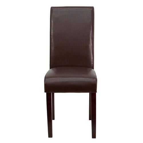 Dark Brown Leather Parsons Chair