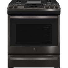 "OUT OF BOX GE® 30"" Slide-In Front-Control Convection Gas Range"