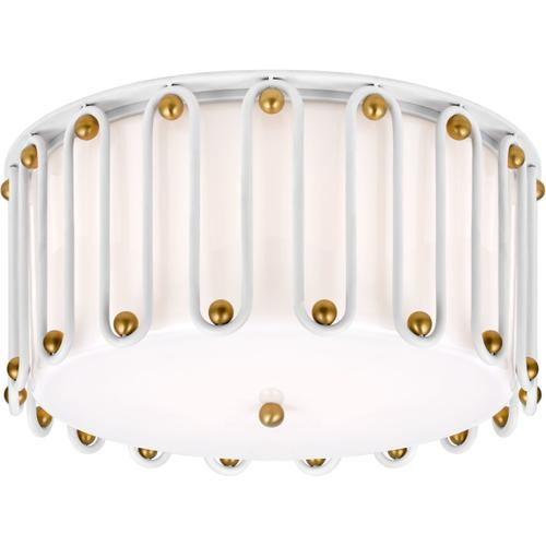 AERIN Molene 4 Light 18 inch White and Gild Flush Mount Ceiling Light, Large