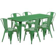 31.5'' x 63'' Rectangular Green Metal Indoor-Outdoor Table Set with 6 Stack Chairs