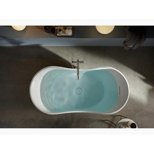 "Honed White 66"" X 32"" Freestanding Bath With Center Toe-tap Drain"