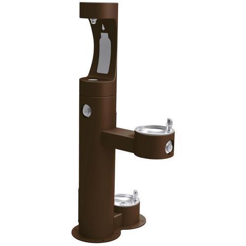 Elkay - Elkay Outdoor EZH2O Bottle Filling Station Bi-Level, Pedestal with Pet Station Non-Filtered Non-Refrigerated Brown