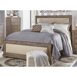 4/6 Upholstered Full Bed - Weathered Gray Finish