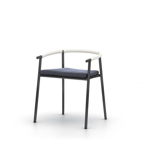 Faye Navy Cover Chord Outdoor Dining Chair, Bronze