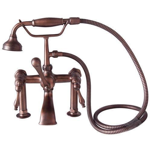 Tub Rim-Mounted Filler with Hand-Held Shower - Lever Handles with Finials / Oil Rubbed Bronze