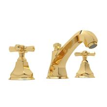 See Details - Palladian High Neck Widespread Bathroom Faucet - Italian Brass with Cross Handle