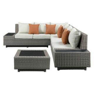 ACME Salena Patio Sectional & Cocktail Table - 45020 - Beige Fabric & Gray Wicker