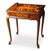 See Details - Selected solid woods and choice cherry veneers. Reversible game board inset top, one side chess/checkers and the other backgammon. Drawer with antique brass finished hardware. Chess and other game pieces shown are not included.