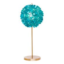 Gold Leaf Iron Lamp With Turquoise Capiz Shell Shade. Clear Cord. Ul Approved for One 60 Watt Bulb.