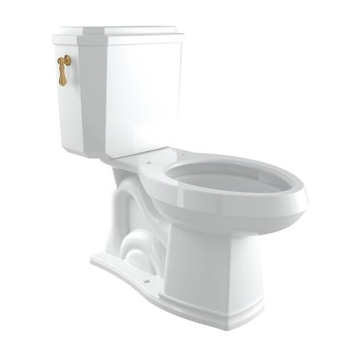 Italian Brass Perrin & Rowe Deco Elongated Close Coupled 1.28 Gpf High Efficiency Water Closet/Toilet