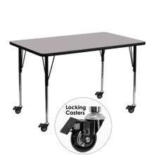Mobile 24''W x 48''L Rectangular Grey Thermal Laminate Activity Table - Standard Height Adjustable Legs