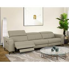 View Product - Divani Casa Nella - Modern Light Grey Leather 4-Seater Sofa w/ Electric Recliners