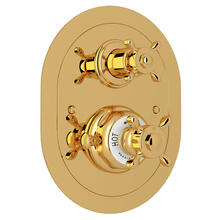 Edwardian Era Oval Thermostatic Trim Plate with Volume Control - English Gold with Cross Handle