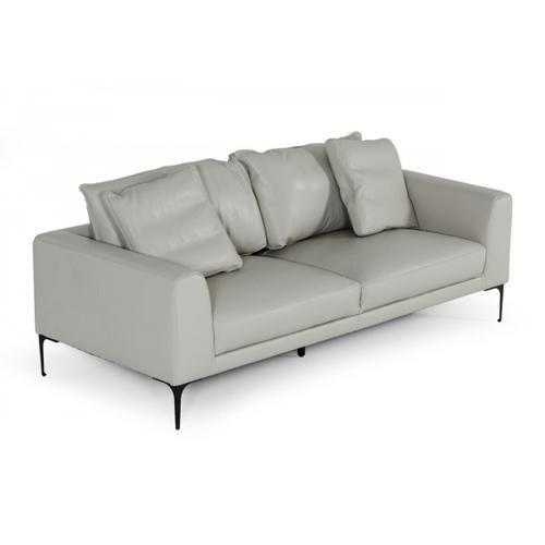 VIG Furniture - Divani Casa Jacoba - Modern Light Grey Leather Sofa