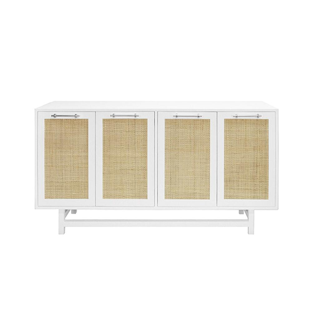 On Trend for Good Reason! Our Four Door Macon Cabinet Offers Beautiful and Neutral Storage for Your Mid Century, Farmhouse, or Scandinavian Inspired Interiors. Natural Cane Door Fronts Are Expertly Paired With A Finish Palette of Matte White Lacquer and Nickel Hardware. an Extraordinary Accent Piece for Any Room.