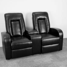 2-Seat Reclining Black Leather Theater Seating Unit with Cup Holders