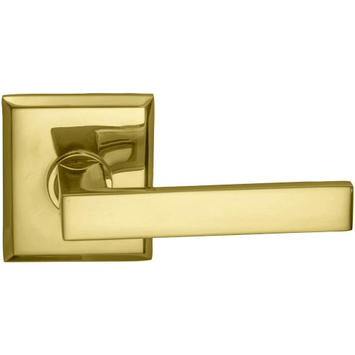 Interior Modern Lever Latchset with Rectangular Rose in (US3 Polished Brass, Lacquered)