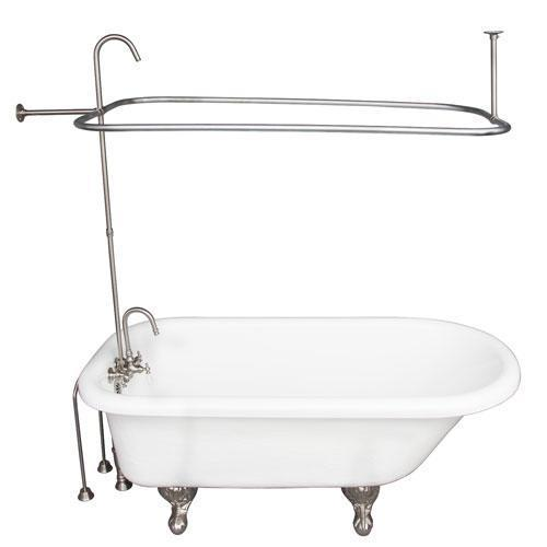 """Atlin 67"""" Acrylic Roll Top Tub Kit in White - Brushed Nickel Accessories"""