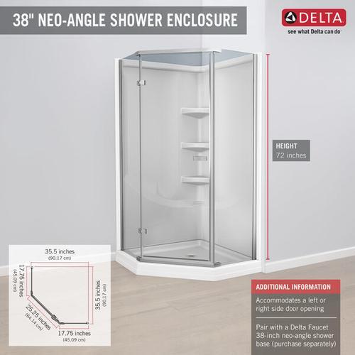 """Chrome 38"""" Frameless Neo Angle Shower Enclosure"""