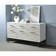 ACME Uma Console Table - 97473 - White & Weathered Wood Pattern