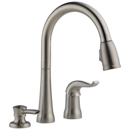 Stainless Single Handle Pull-Down Kitchen Faucet with Soap Dispenser