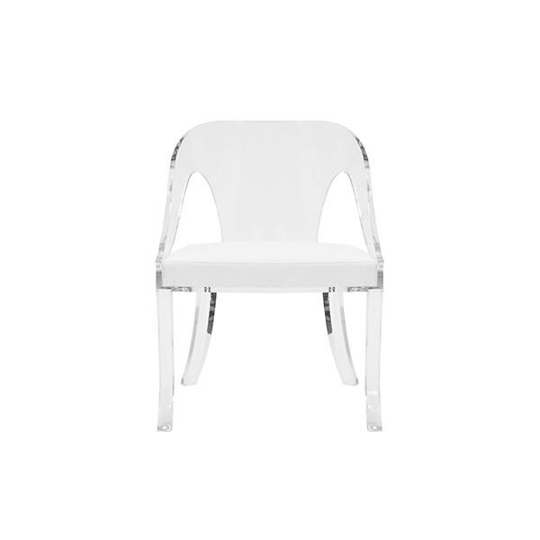 Grab A Seat, the Show Is About To Begin! Whether Gathered Together Around Your Favorite Dining Table or Paired as A Simple Conversational Ensemble, the Crystal Clear, Round-back Acrylic Jolie Chair Will Have You Sitting In Splendor. Gently Arching Rear Legs Support A Structured White Linen Cushion.