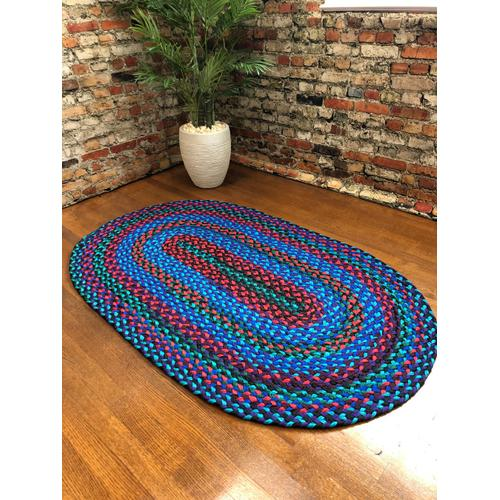 "Hometown Braided Rug Jewel Tone Braided Rugs 3' x 5'(Actual size 37"" x 59"")"