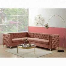 ACME Rhett Sectional Sofa - 55505 - Transitional - Velvet, Frame: Wood ( ), Foam (D), Metal Leg - Dusty Pink Velvet