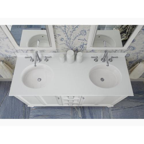 """Biscuit Expressions 61"""" Vanity-top With Double Verticyl Oval Cutout"""
