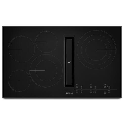 "Black Floating Glass 36"" JX3 Electric Downdraft Cooktop with Glass-Touch Electronic Controls Black"