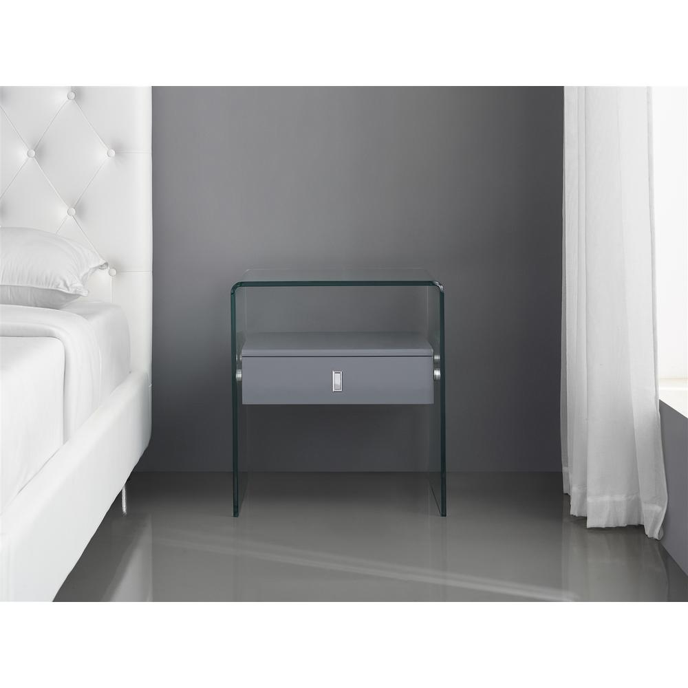 The Bari High Gloss Gray Lacquer Nightstands
