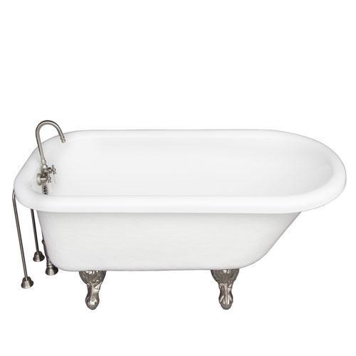 "Andover 60"" Acrylic Roll Top Tub Kit in White - Brushed Nickel Accessories"