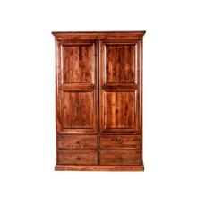 See Details - Forest Designs Traditional Wardrobe: 48W X 72H X 21D w/ Four Drawers & Center Divider (Black Knobs) - 36w