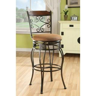 "ACME Tavio Bar Chair w/Swivel (Set-2) - 96045 - Fabric & Black w/Gold Brush - 29"" Seat Height"