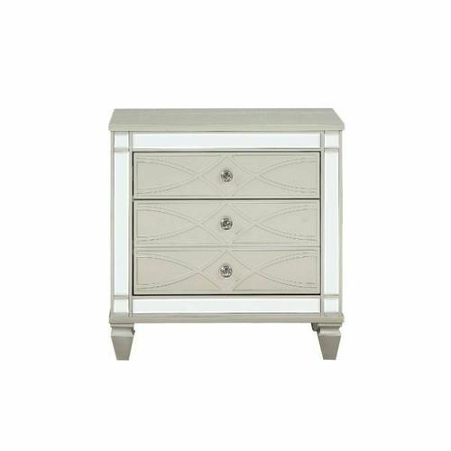 ACME Marcellus Nightstand - 22183 - Glam - Wood (Pine), MDF, Ply - Silver