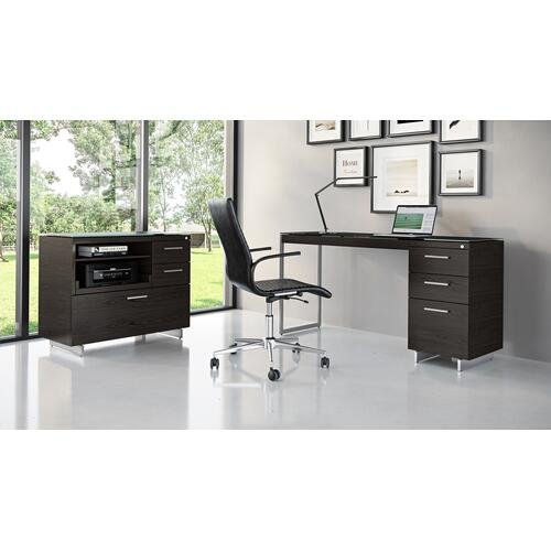 BDI Furniture - Sequel 20 6114 3 Drawer File Cabinet in Charcoal Satin Nickel
