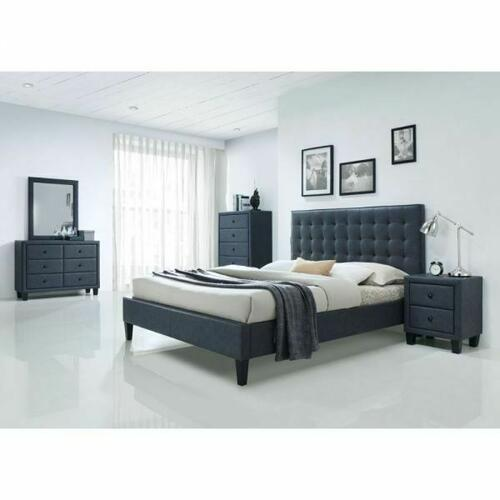 ACME Saveria Eastern King Bed - 25657EK - 2-Tone Gray PU