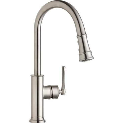 Elkay - Elkay Explore Single Hole Kitchen Faucet with Pull-down Spray and Forward Only Lever Handle Lustrous Steel