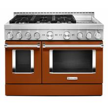 View Product - KitchenAid® 48'' Smart Commercial-Style Gas Range with Griddle - Scorched Orange