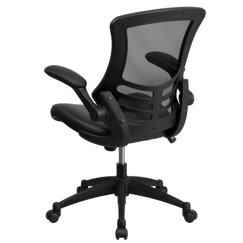 Mid-Back Black Mesh Swivel Task Chair with Leather Seat and Flip-Up Arms