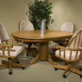 "Classic Oak Chestnut Laminate 48"" Pedestal Table"