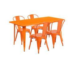 31.5'' x 63'' Rectangular Orange Metal Indoor-Outdoor Table Set with 4 Stack Chairs