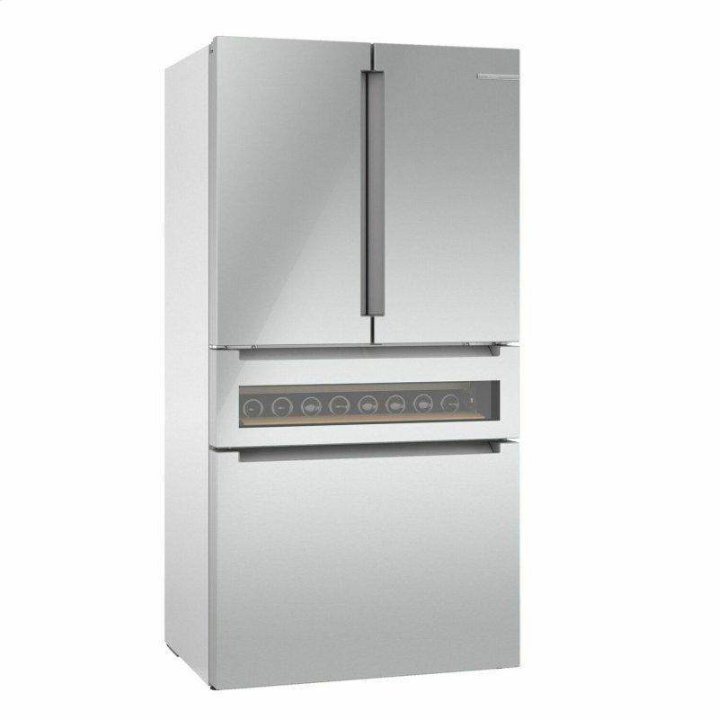 800 Series French Door Bottom Mount Refrigerator, Glass door 36'' Stainless Steel B36CL81ENG