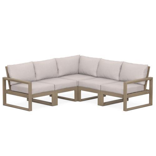 Polywood Furnishings - EDGE 5-Piece Modular Deep Seating Set in Vintage Sahara / Dune Burlap