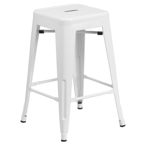 24'' High Backless White Metal Indoor-Outdoor Counter Height Stool with Square Seat