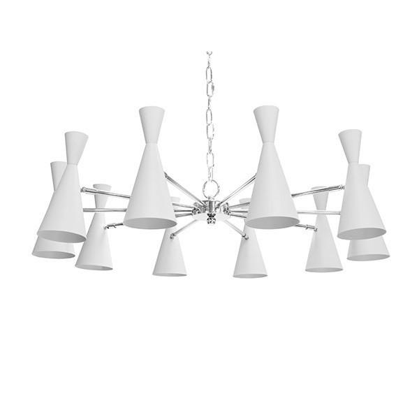 Designers Are Scooping Up Our Fabulous Fleming Chandelier for Its Elegant Profile and Captivating Style. Features Ten Hourglass Shades With Matte White Powdercoat and Polished Nickel Detailing. Includes 6' of Matching Chain and Canopy for Your Custom Installation. Shine On!
