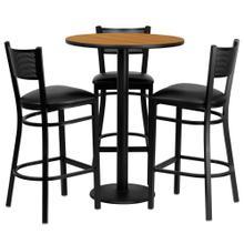 See Details - 30'' Round Natural Laminate Table Set with 3 Grid Back Metal Barstools - Black Vinyl Seat